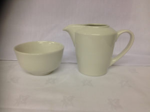 Plain White Sugar Bowl, Milk Jug
